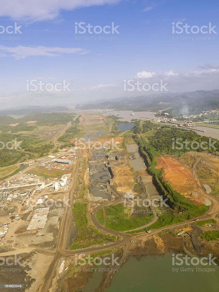 Panama Canal aerial view stock photo