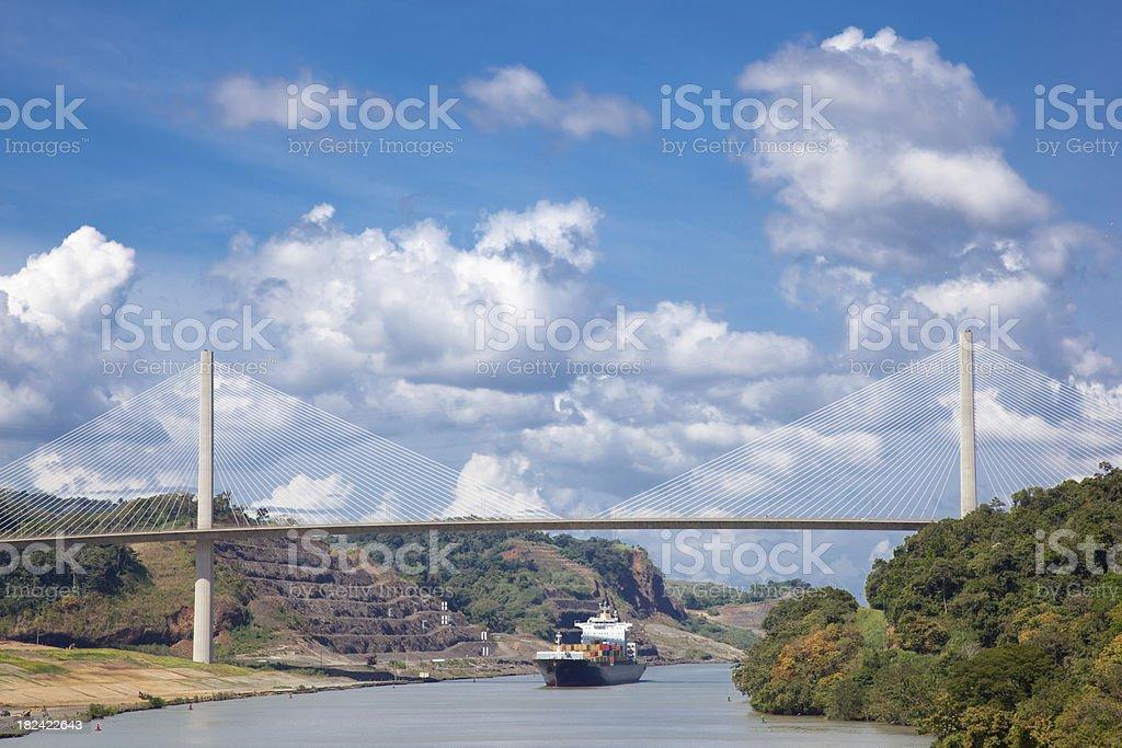 Panama Canal and Cargo Ship stock photo