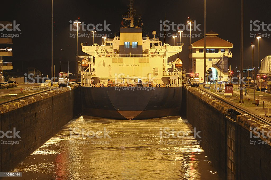 Panama Canal at night stock photo