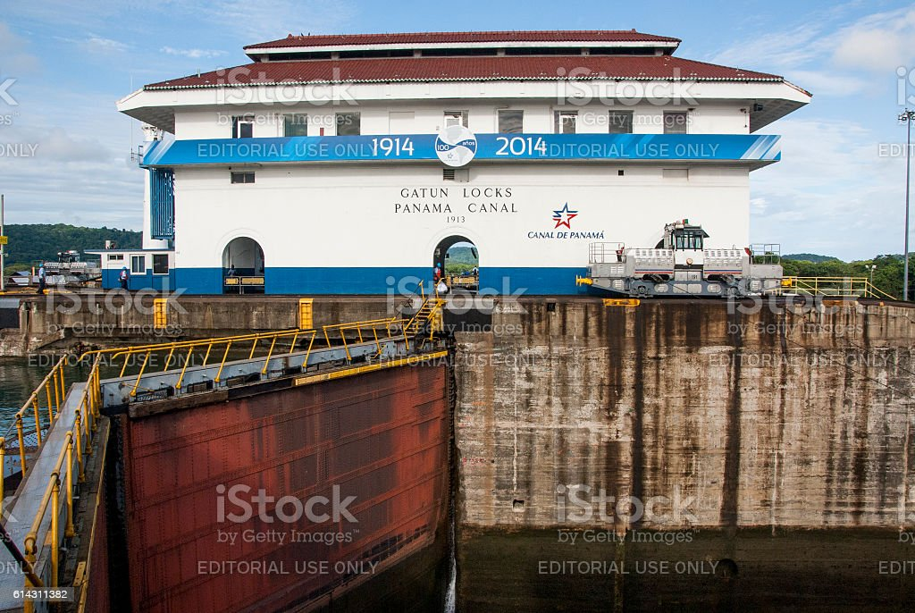 Panama Canal - Gatun Locks stock photo