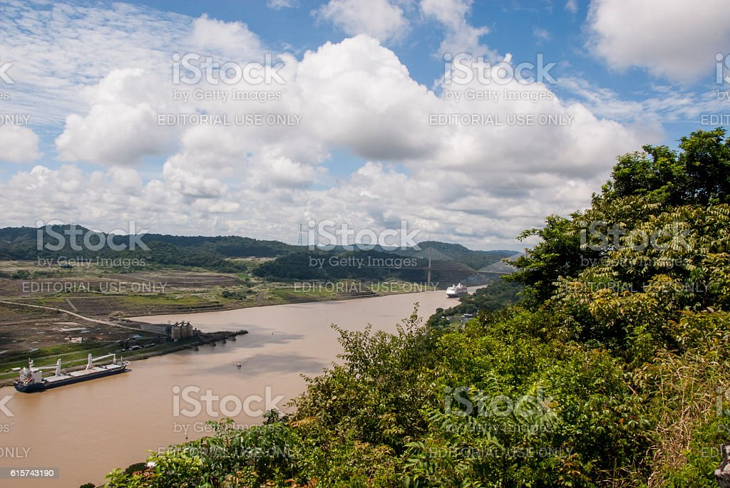 Panama Canal in a summer sunny day stock photo