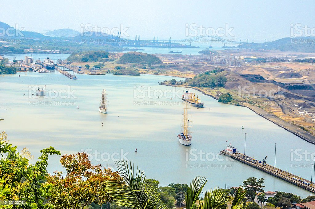 Panama Canal Landscape Overview stock photo