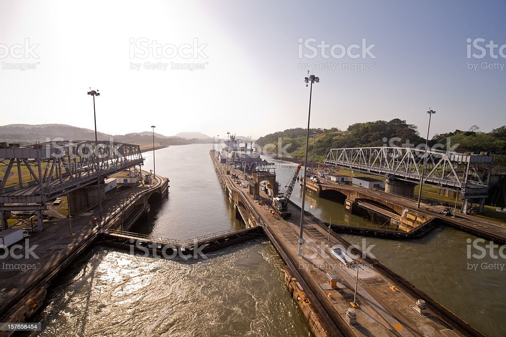 Panama Canal Lock stock photo