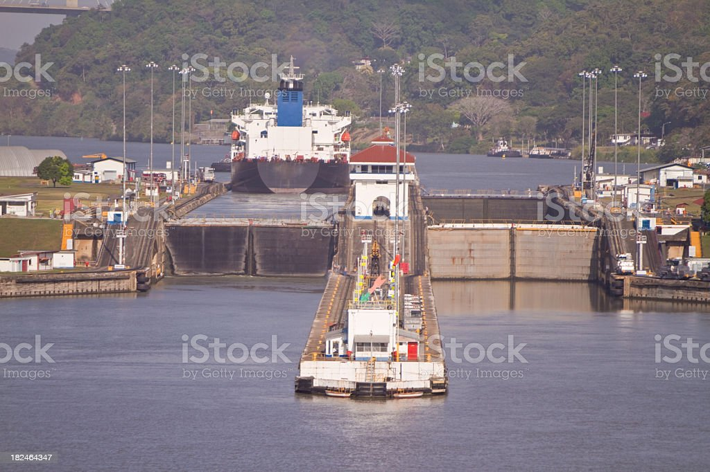 Panama Canal Lock royalty-free stock photo