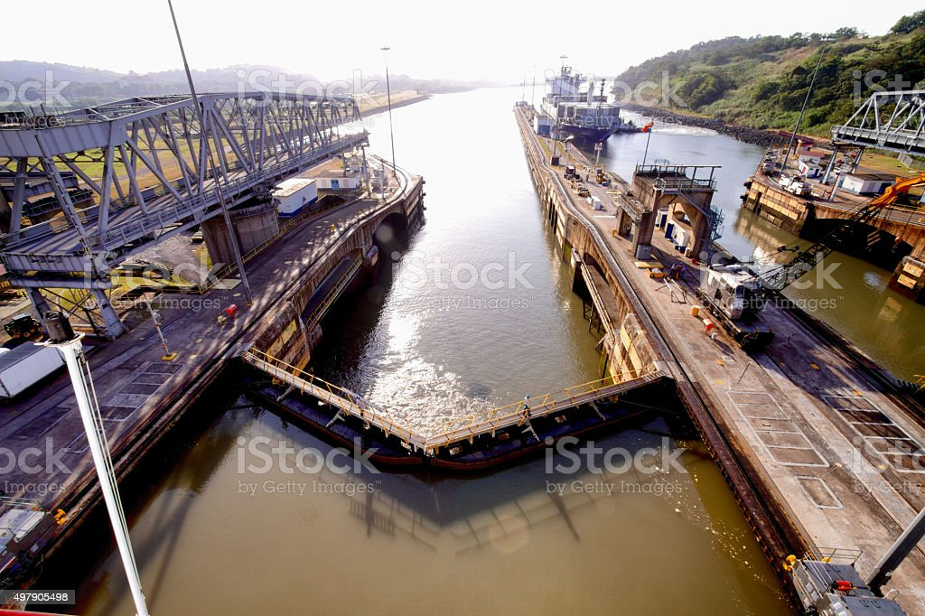 Panama Canal Lock stock photo