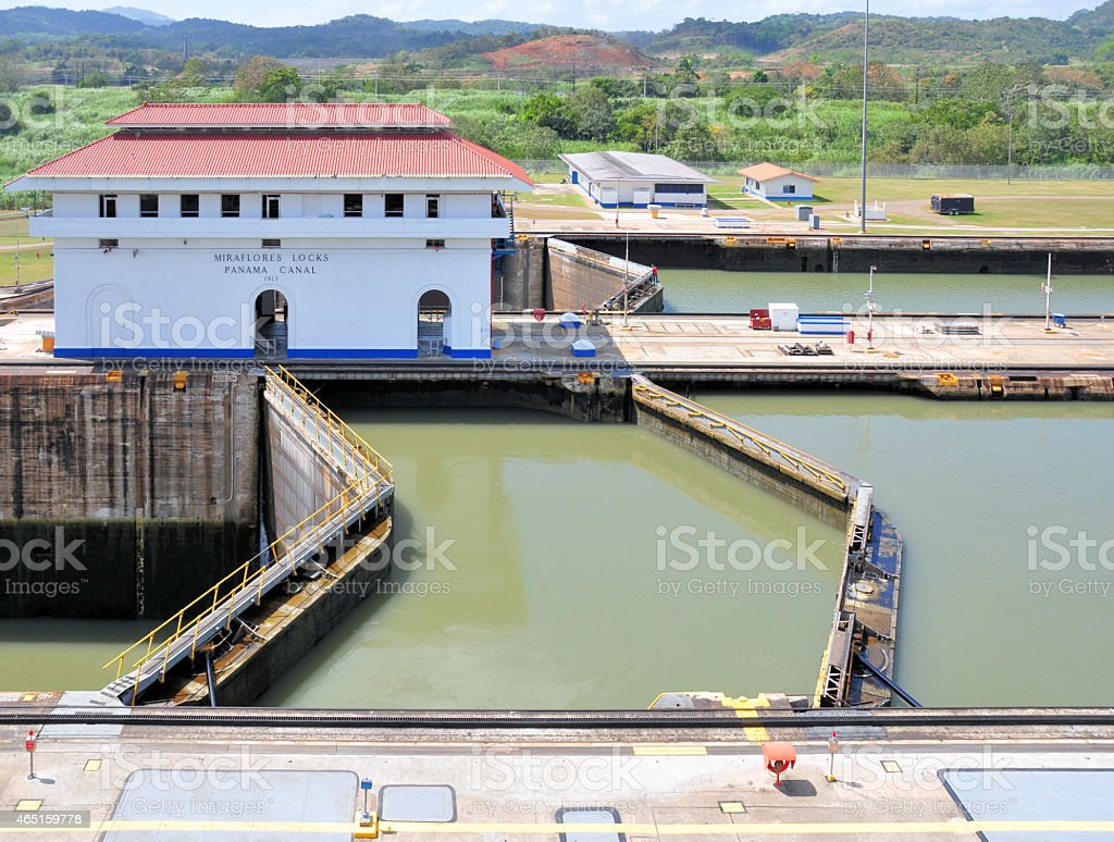 Panama Canal - Miraflores locks stock photo