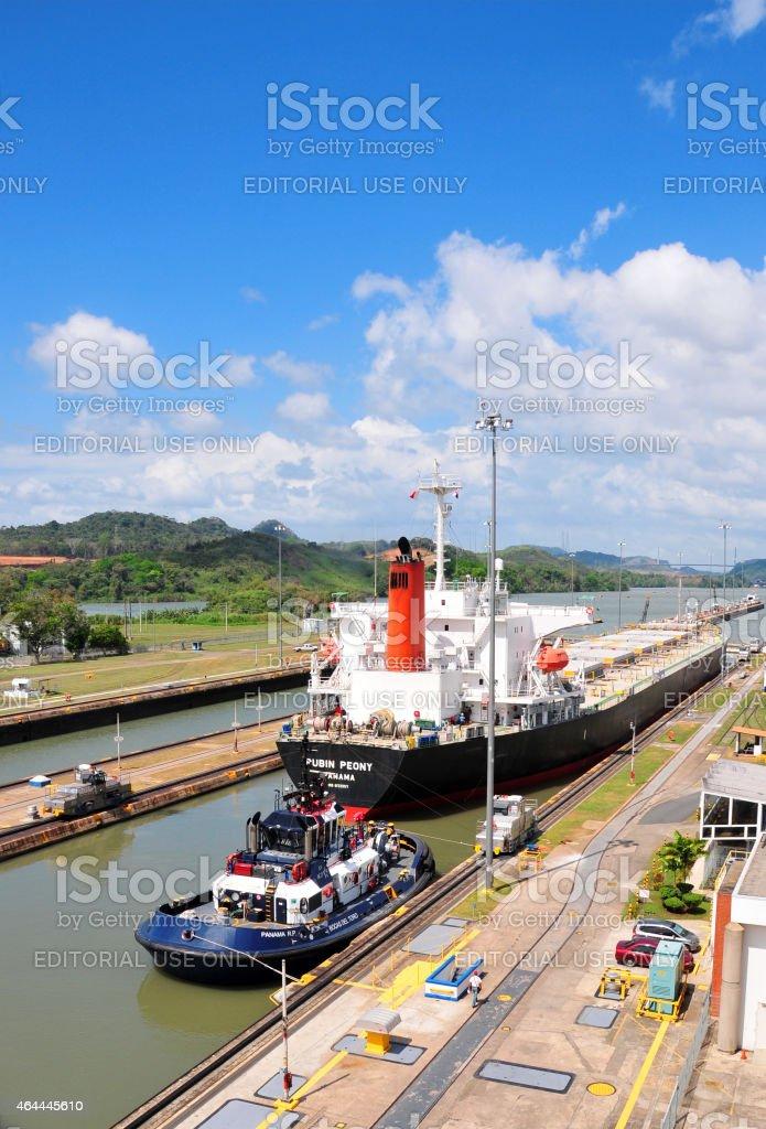 Panama canal - ship at the Miraflores locks stock photo