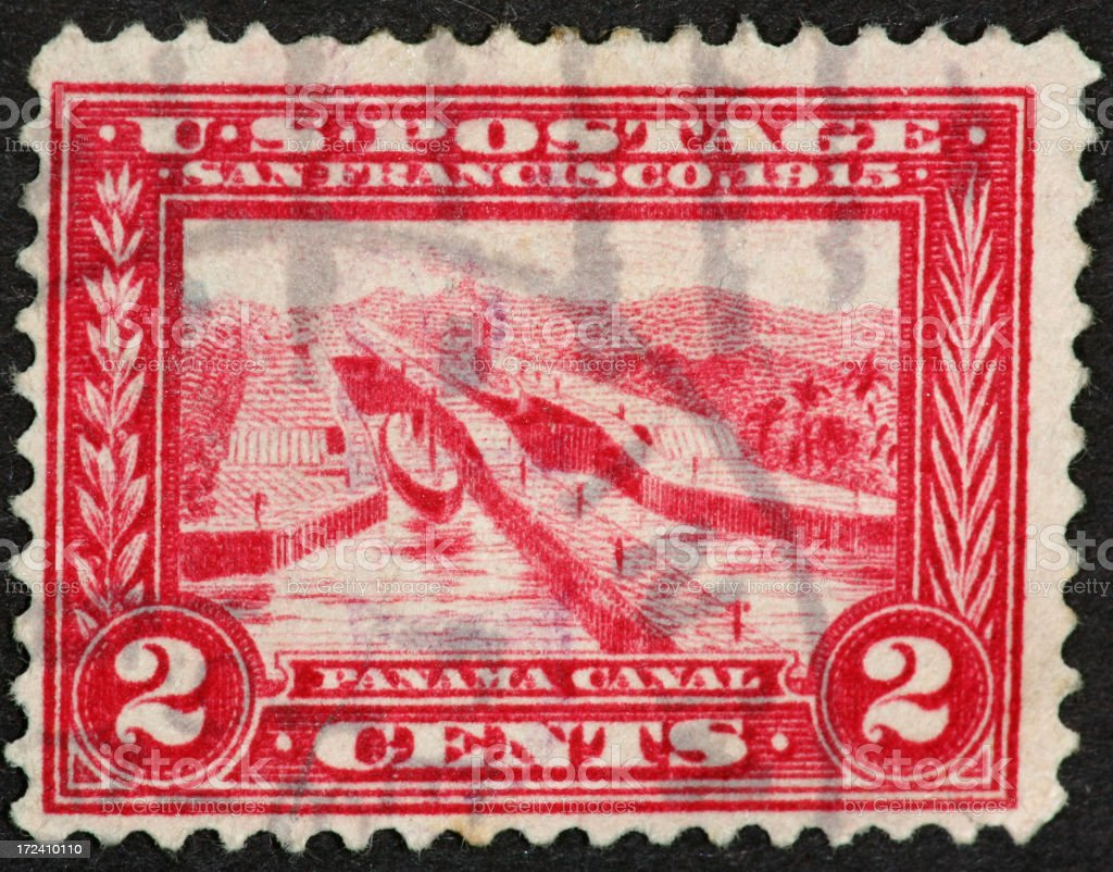 Panama Canal stamp 1915 royalty-free stock photo