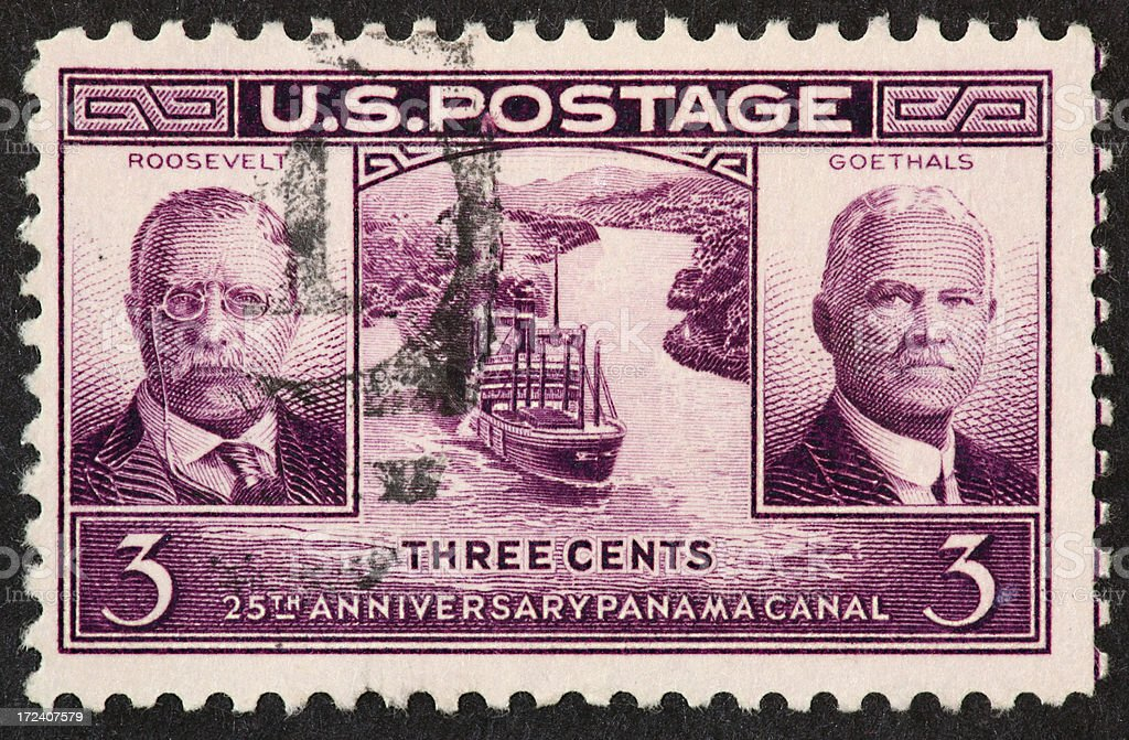 Panama canal stamp 1939 royalty-free stock photo
