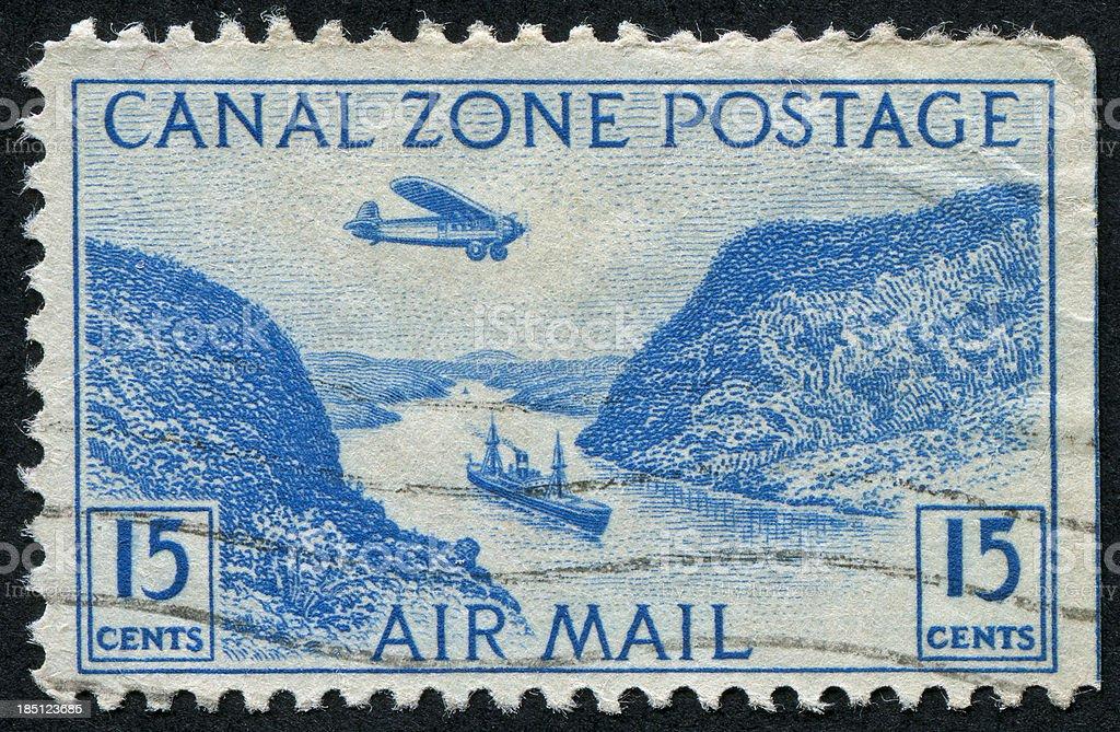 Panama Canal Stamp stock photo