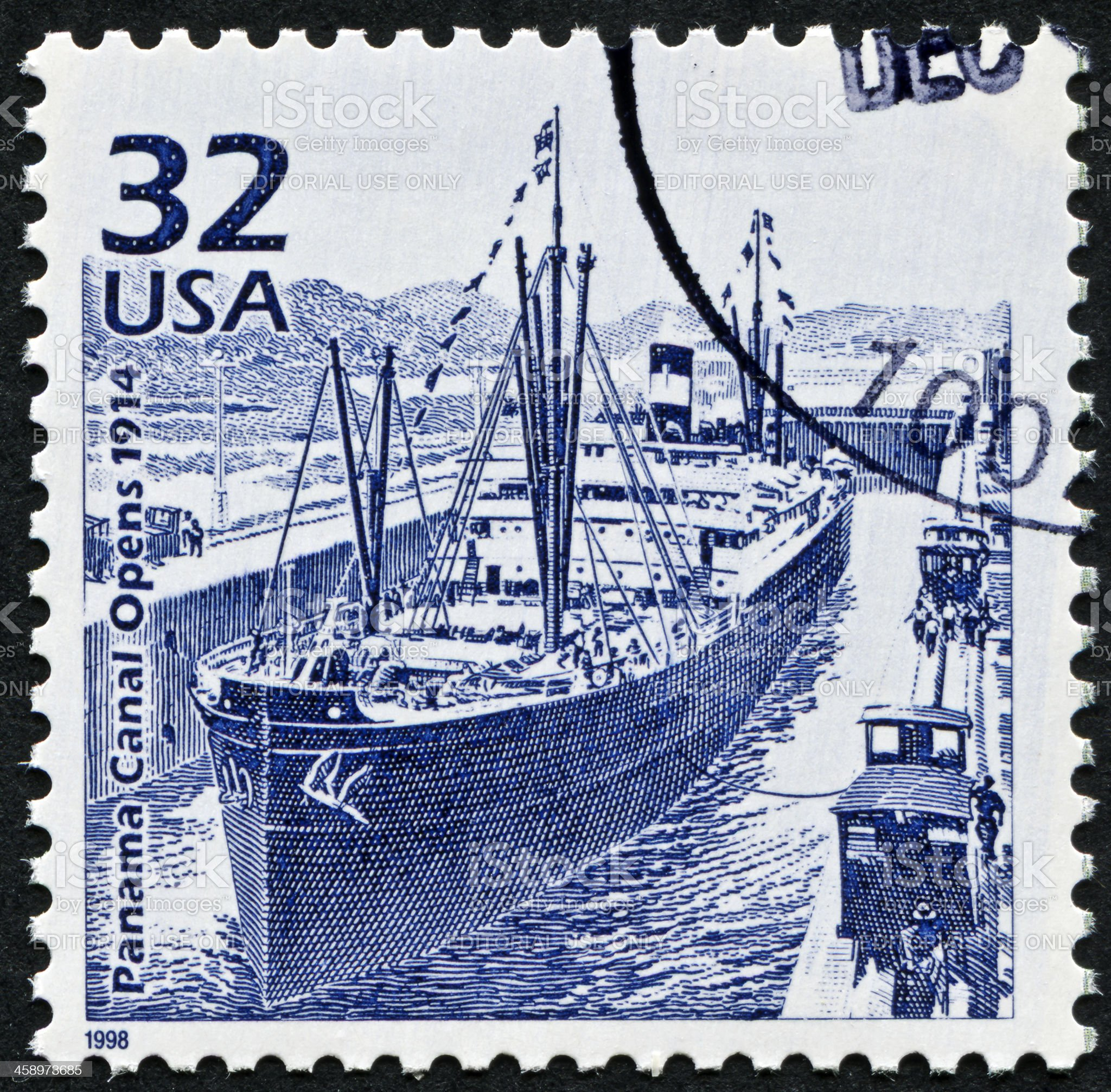 Panama Canal Stamp royalty-free stock photo