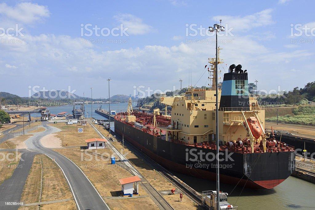 Panama Canal: Tanker Exits Lock stock photo