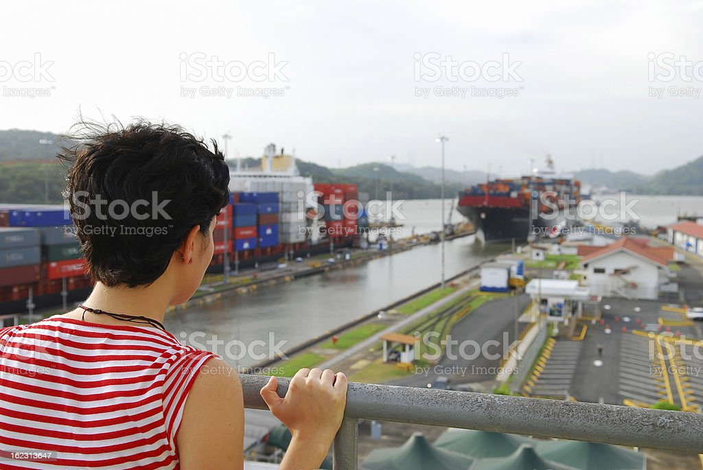 Panama Canal tourist at Miraflores Locks stock photo