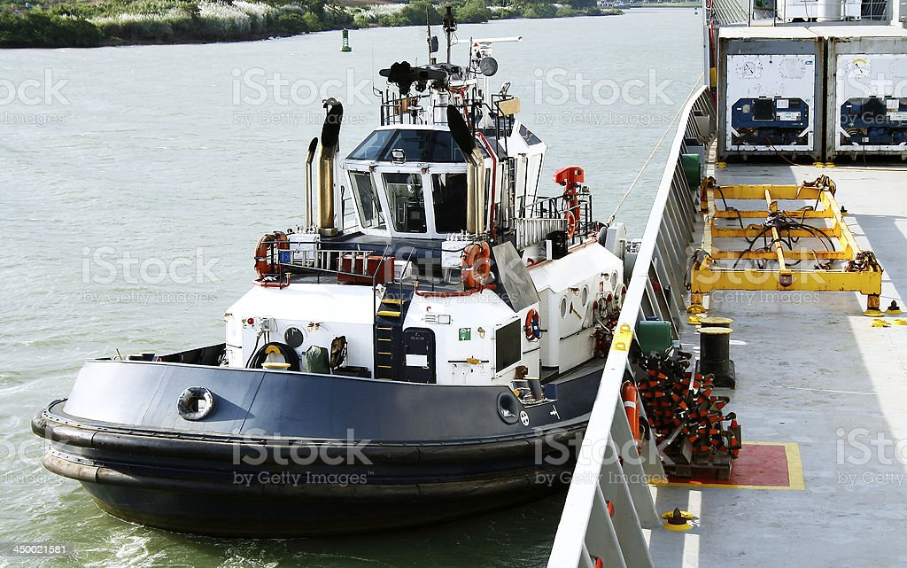 Panama Canal tugboat royalty-free stock photo