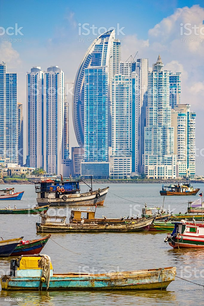 Panama City and Harbor in Republic of Panama stock photo
