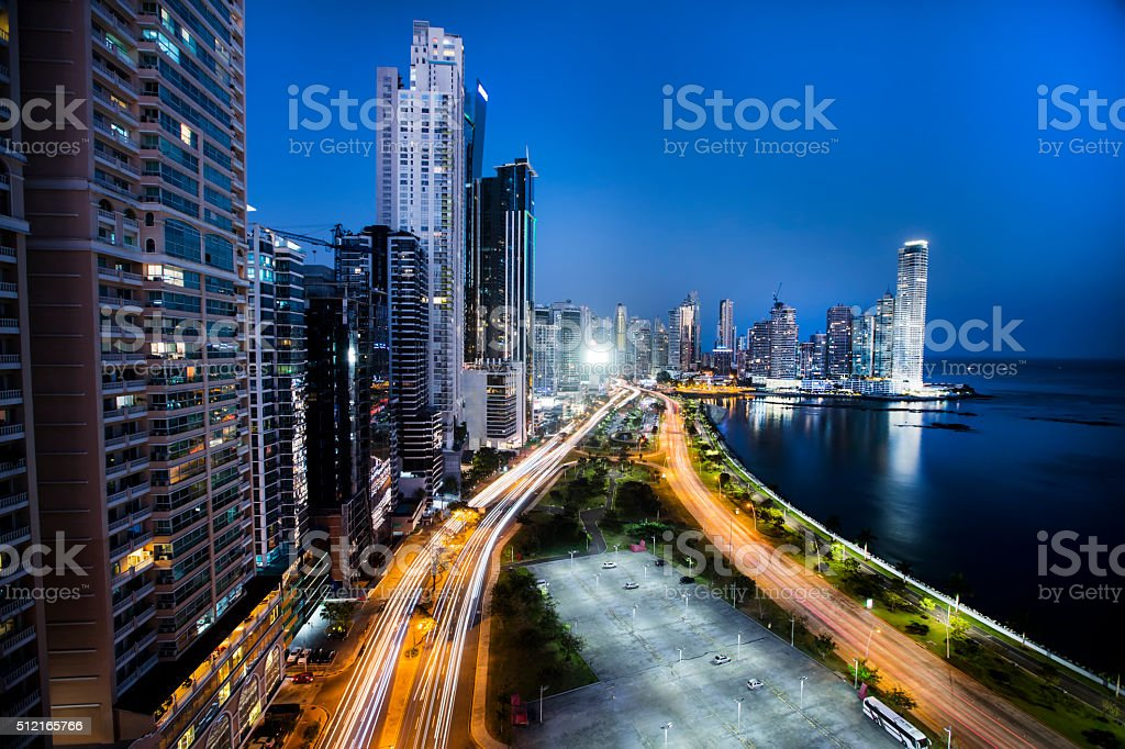 Panama city at night stock photo