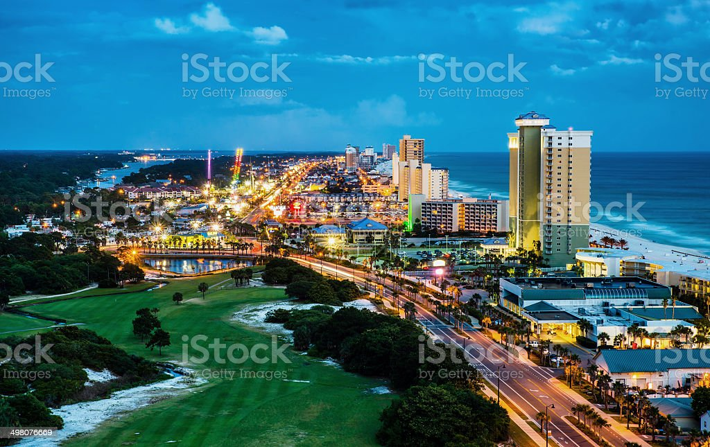 Panama City Beach, Florida, view of Front Beach Road at night stock photo