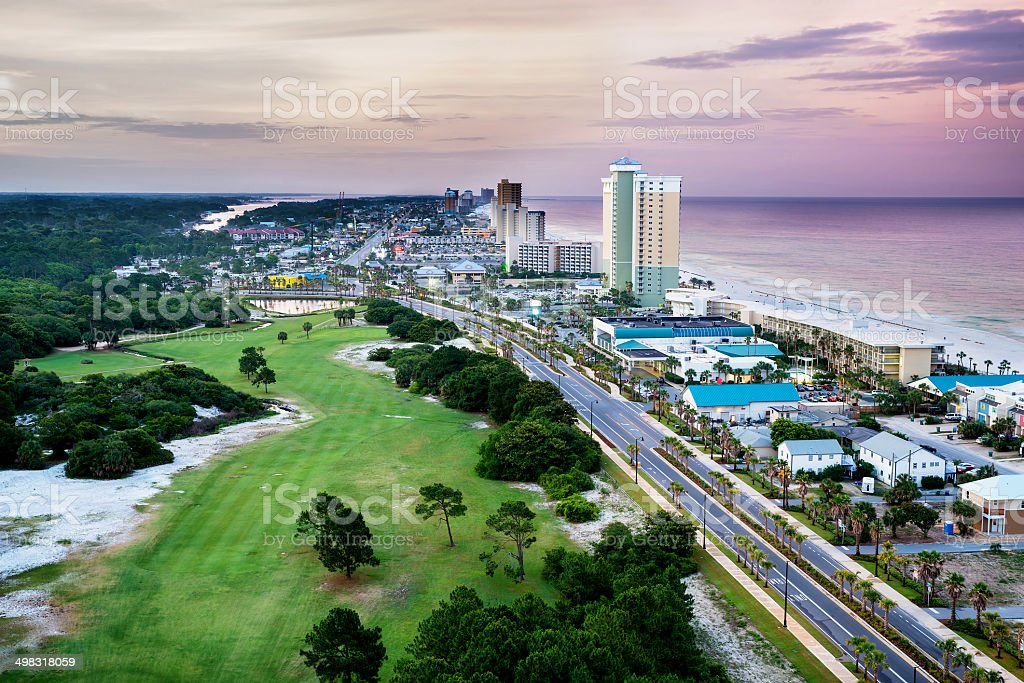 Panama City Beach, Florida, view of Front Beach Road at sunrise stock photo