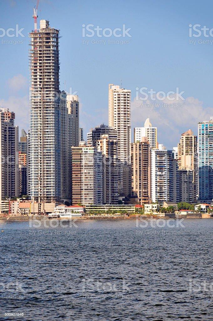 Panama city: builing one more skyscraper stock photo