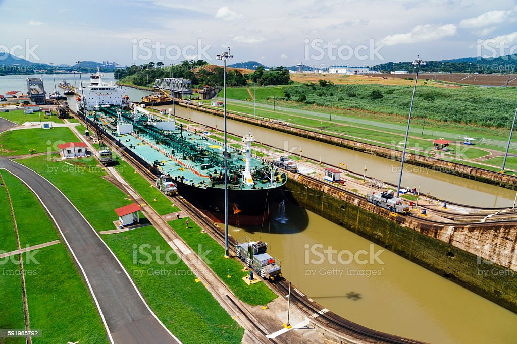 Panama City Canal Lock stock photo