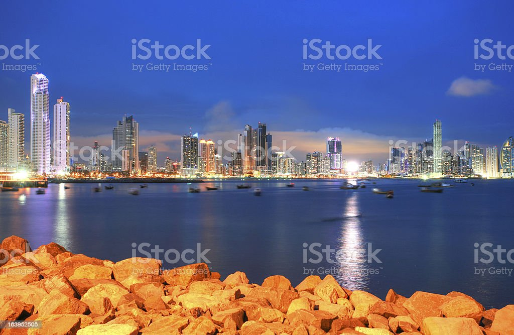 Panama city center skyline and Bay stock photo