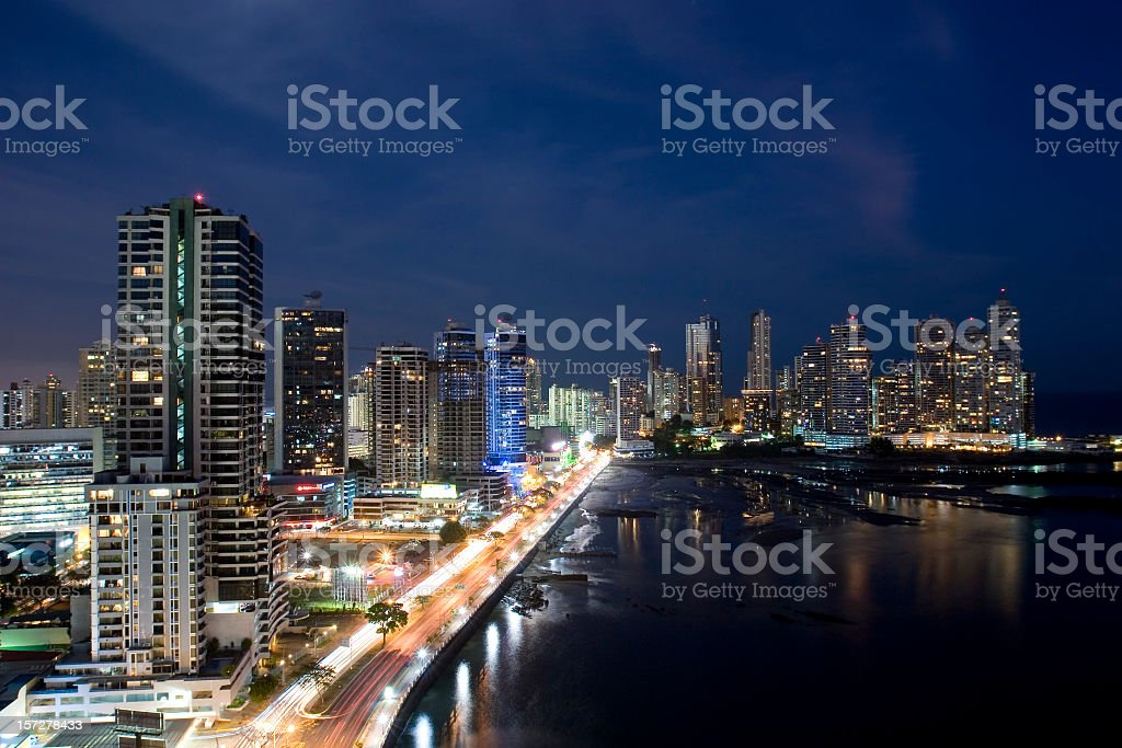 Panama City Nights royalty-free stock photo