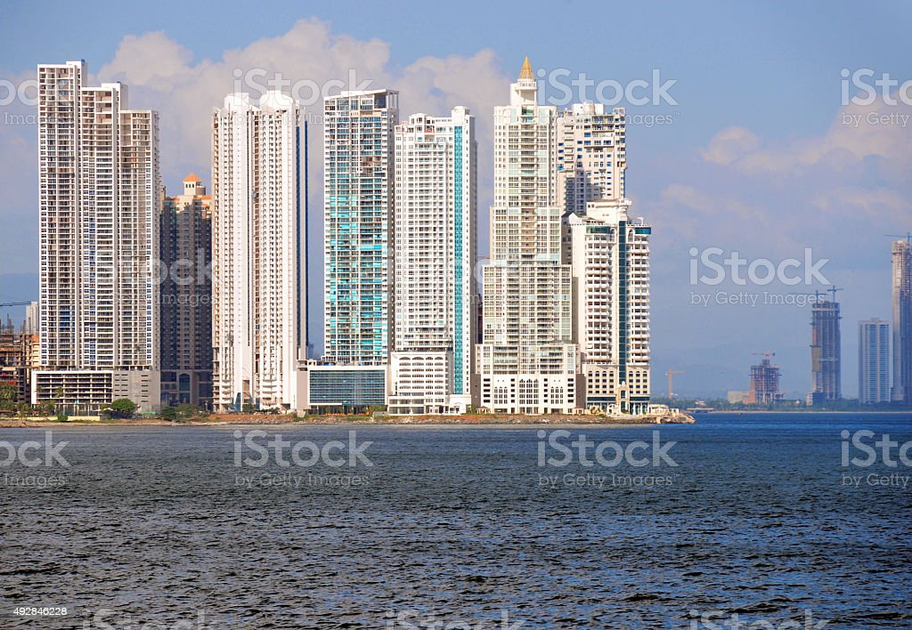 Panama city - Punta Paitilla skyline  from las las Bove stock photo