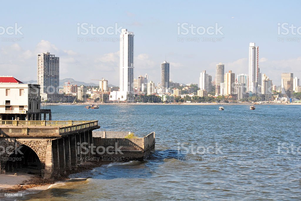 Panama City: ruins of Club Union, skyscrapers in the background stock photo