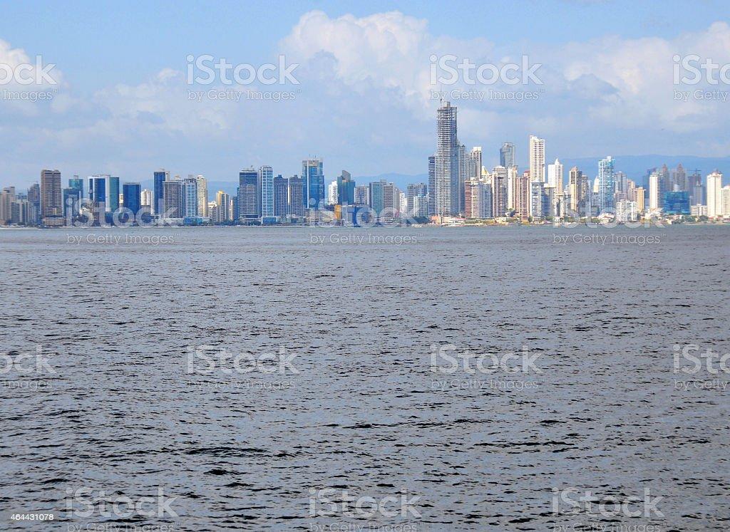 Panama city skyline and the ocean stock photo