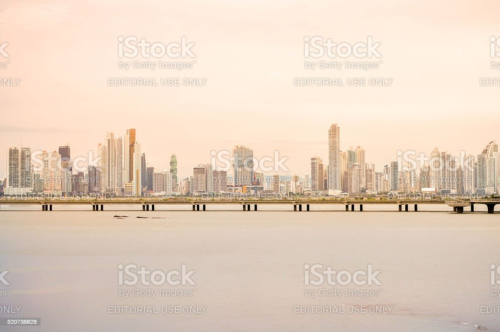 Panama city skyline at sunset in Panama, Central America stock photo