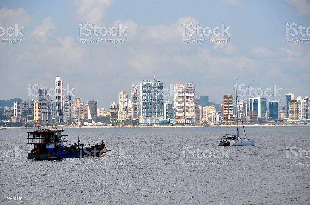 Panama City skyscrapers and boats stock photo