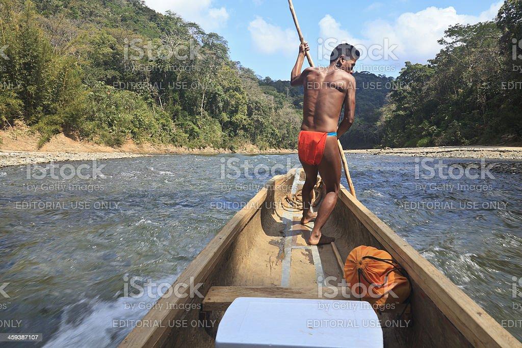 Panama: Embera Boatman on the Chagres River royalty-free stock photo