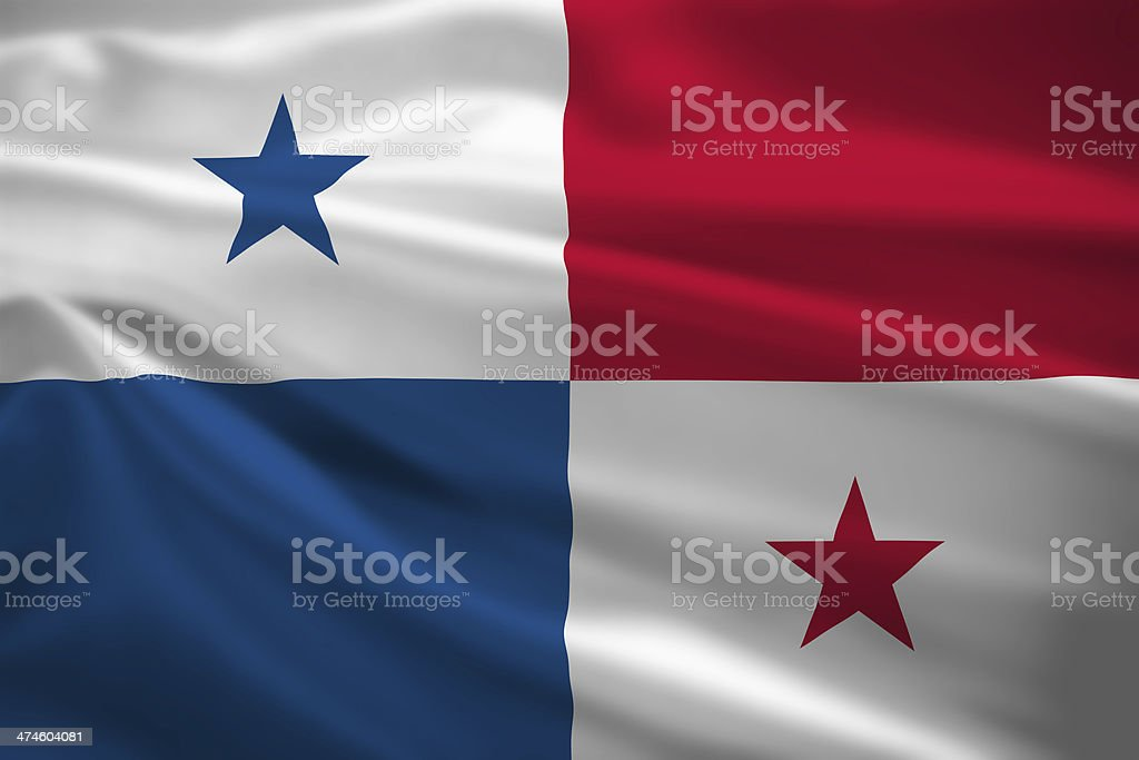 Panama flag blowing in the wind stock photo