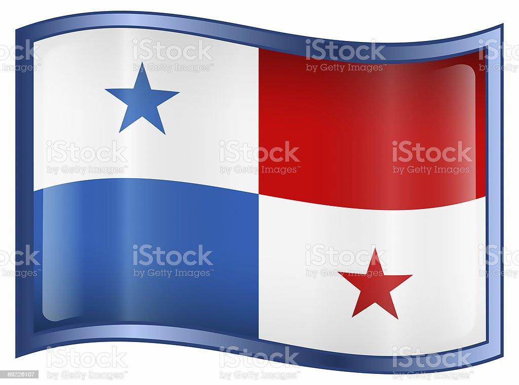 Panama Flag Icon, isolated on white background. stock photo