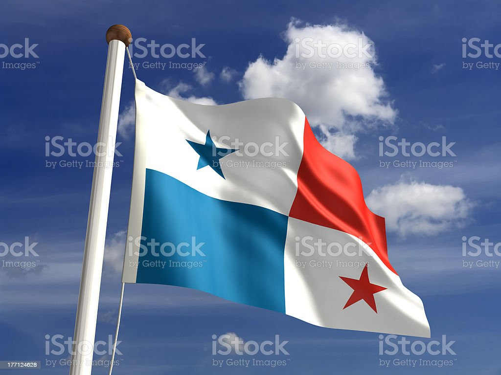 Panama flag (with clipping path) stock photo