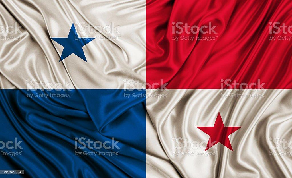Panama flag - silk texture stock photo