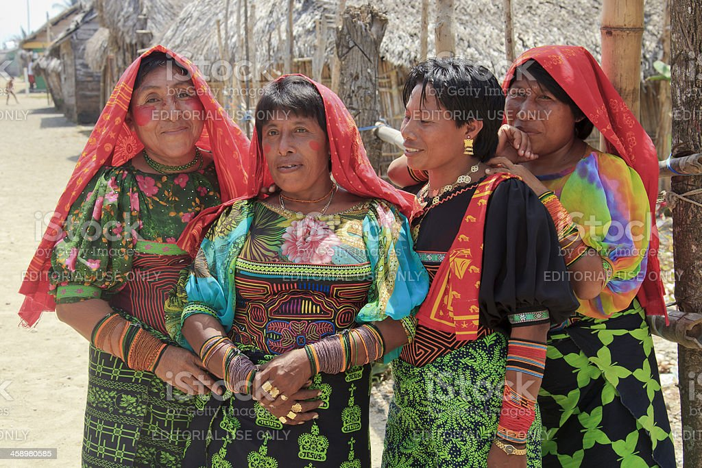Panama: Four Kuna Women in Traditional Costume stock photo