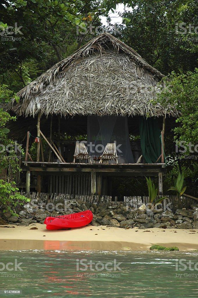 Panama hut on the beach royalty-free stock photo