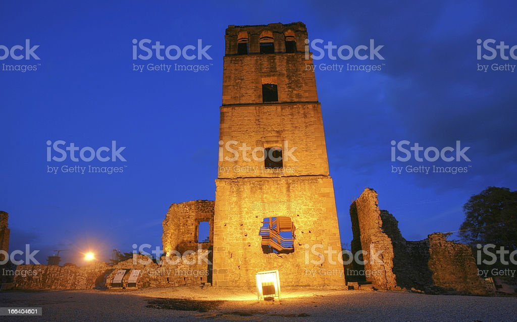 Panama La Vieja, old Spanish city destroyed by pirates. stock photo