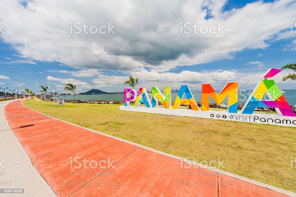 Panama lettering on the Causeway in Panama City stock photo