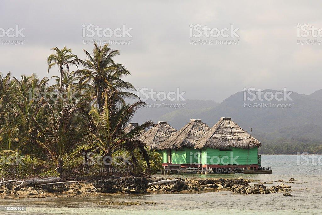 Panama: Resort Cabins Over Water, Eastern San Blas Islands stock photo