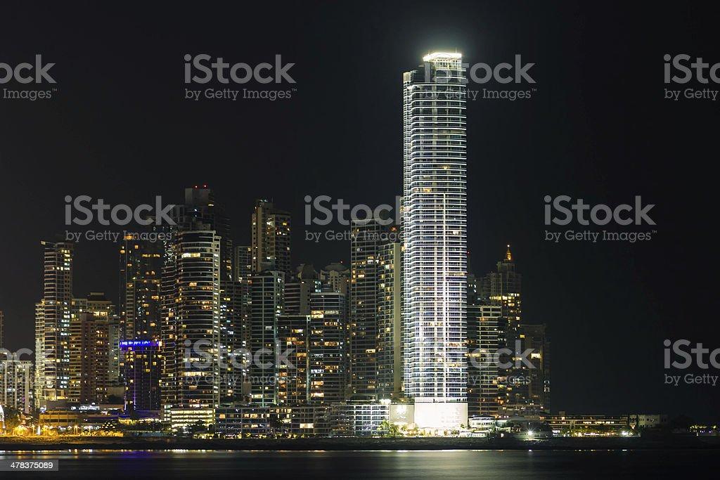 Panama skyline at night stock photo