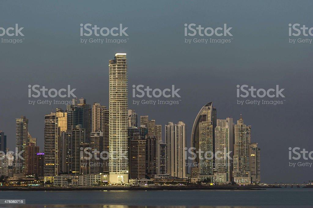 Panama skyline at twilight stock photo