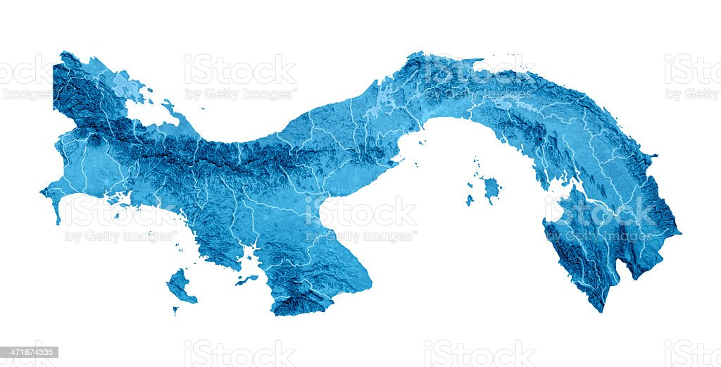 Panama Topographic Map Isolated royalty-free stock photo