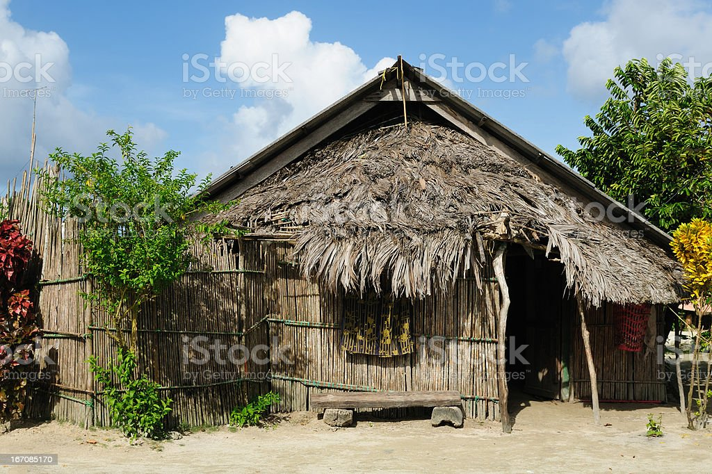 Panama, traditional house on the San Blas archipelago royalty-free stock photo