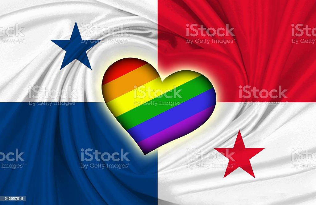 Panamanian and Gay Pride flag stock photo