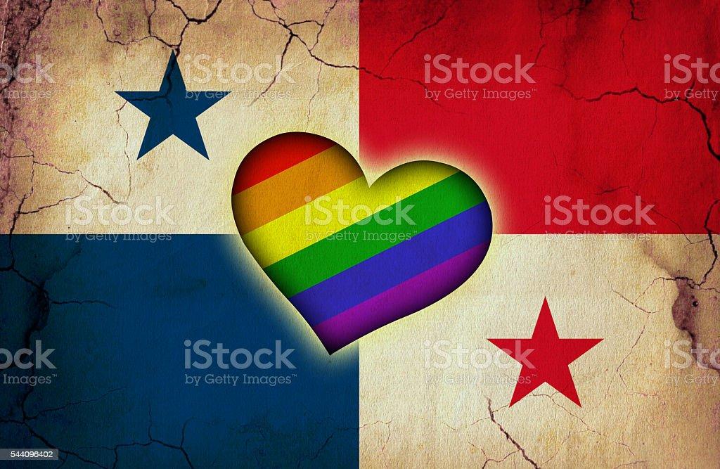 Panamanian and rainbow flag stock photo