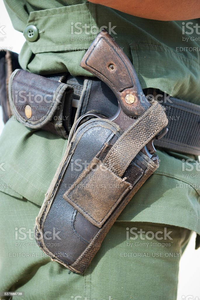 Panamanian policeman carrying Smith and Wesson Model 10 revolver stock photo