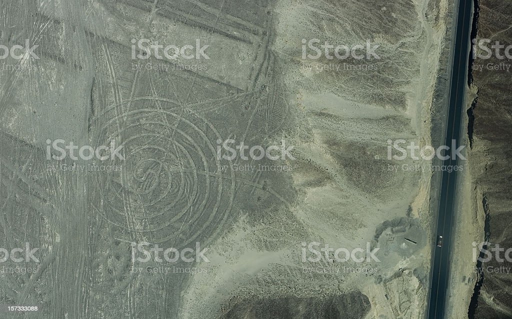 Pan-American Highway and circular Nazca geoglyph stock photo