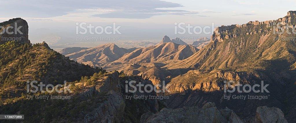 Panarama of Chisos Mountains Northeast Rim, Big Bend National Park stock photo